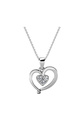 Her Jewellery silver Delicae Pendant (White Gold) - Made with Premium grade crystals from Austria 01B9BAC5DED444GS_1