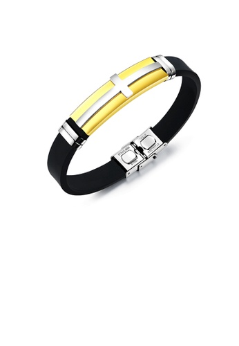 Glamorousky silver Fashion Classic Gold Plated Cross Geometry Rectangular 316L Stainless Steel Silicone Bracelet AD21EAC98937D7GS_1