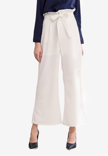 Kodz white Ribbon Detailed Wide Leg Pants 59AD5AAA5B7282GS_1