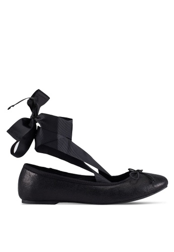 ZALORA black Velvet Embossed Ballerina Flats With Laces 0F604ZZEA3C459GS_1