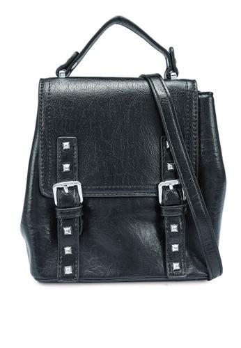Bagstationz black Studded Convertible Top Handle Bag 30E70ACB4FB169GS_1
