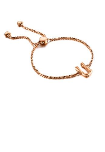 Glamorousky silver Simple Fashion Plated Rose Gold English Alphabet U 316L Stainless Steel Bracelet B55B8AC3C391F2GS_1