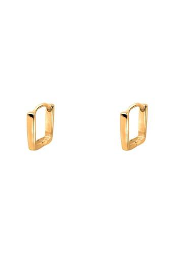 925zalora 鞋評價 純銀鍍金方形耳環, 飾品配件, 其他