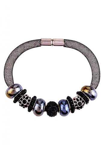 LOVENGIFTS black LOVENGIFTS Collection Stardust Strap Beaded Bracelet (Black) LO429AC67QYAMY_1