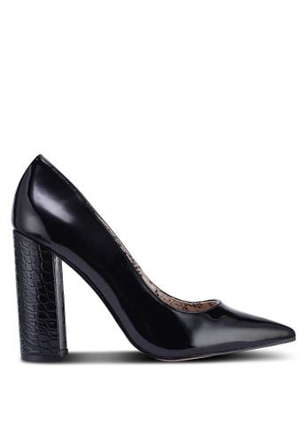 River Island black Wordsearch Block Heel Court Shoes 5824CSH316F588GS_1