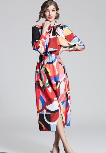 NBRAND multi Bowknot Long Sleeve Printed Dress NB356AA0GQPESG_1