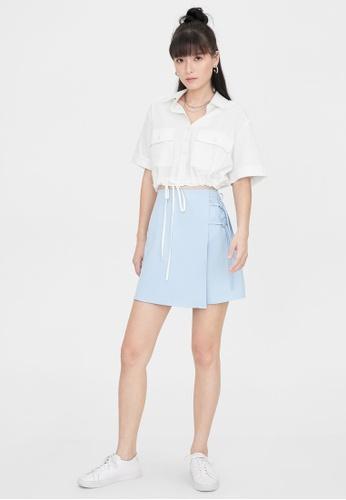 Pomelo blue Side Bow A Line Skirt - Blue 3113CAAF4B993AGS_1