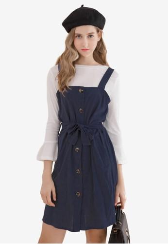 Eyescream blue and navy Button Down 2-Piece Pinafore Dress D1B54AAB77BBD5GS_1