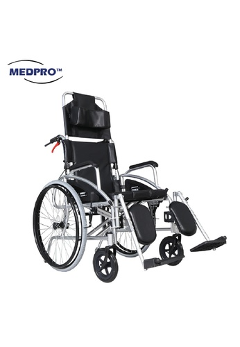 MEDPRO MEDPRO™ Maxi Deluxe Recliner 0-90° Wheelchair with Removable Headrest and Elevated Leg Rest Support (Suitable for Self-Propelled) 93C7EES11450B5GS_1