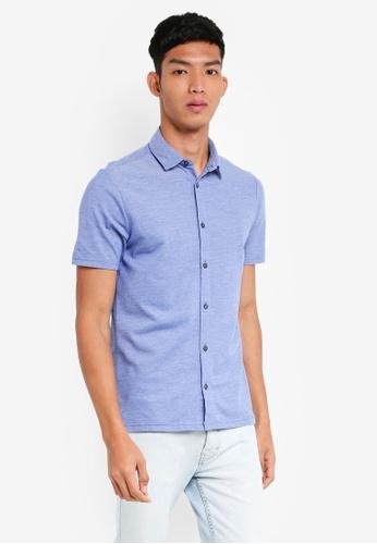 Burton Menswear London blue Bermuda Blue Short Sleeve Two Tone Pique Shirt 4B153AA1CFD3C1GS_1