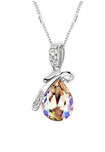 LOVENGIFTS gold LOVENGIFTS Tear Drop Pendant Necklace (Gold) LI189AC43QTGMY_1