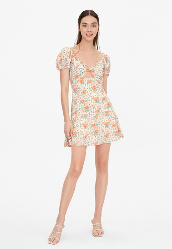 Pomelo multi Floral Sweetheart Cut Out Dress - Cream 4BE76AA7379E3BGS_1