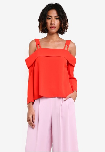 TOPSHOP red Tie Back Bardot Blouse TO412AA0RY2OMY_1