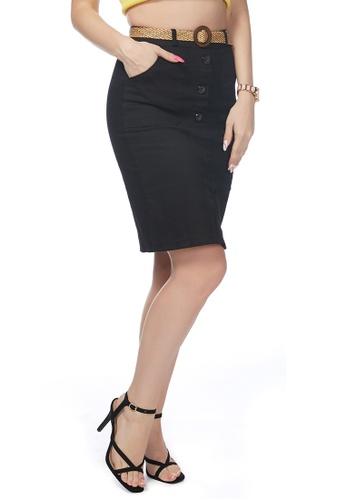 London Rag black Black Front Slit Pencil Skirt 87028AA0704FF4GS_1
