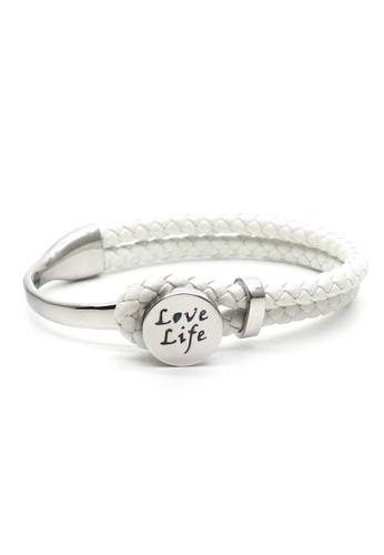 TIAS white and silver Tias Love Life Silver White Leather Bracelet B4ADFACE2BA9A4GS_1