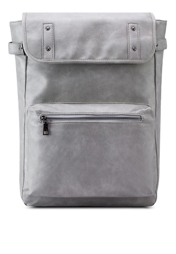Sideesprit hk Buckle Detail Faux Leather Backpack, 包, 後背包