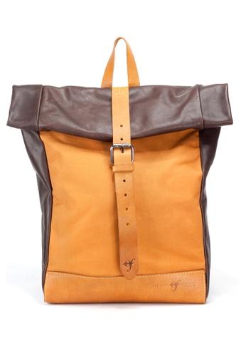 Shu Talk brown Officine Federali Unisex Italian Made Urban Roll Up Backpack B2D36ACCA4B290GS_1