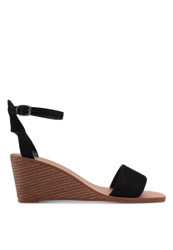ZALORA black Single Strap Ankle Wedges 001D7SH8092B07GS_1