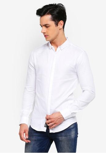 Superdry 白色 質感修身襯衫 E345FAADDA2AF7GS_1