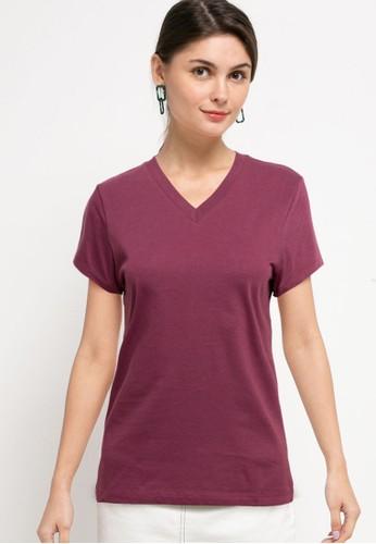 Tolliver purple V Neck Basic Short Sleeve Tee 96C52AAF36BCBCGS_1