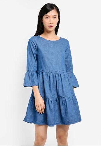 Miss Selfridge blue Tiered Denim Smock Dress MI665AA0SS6FMY_1
