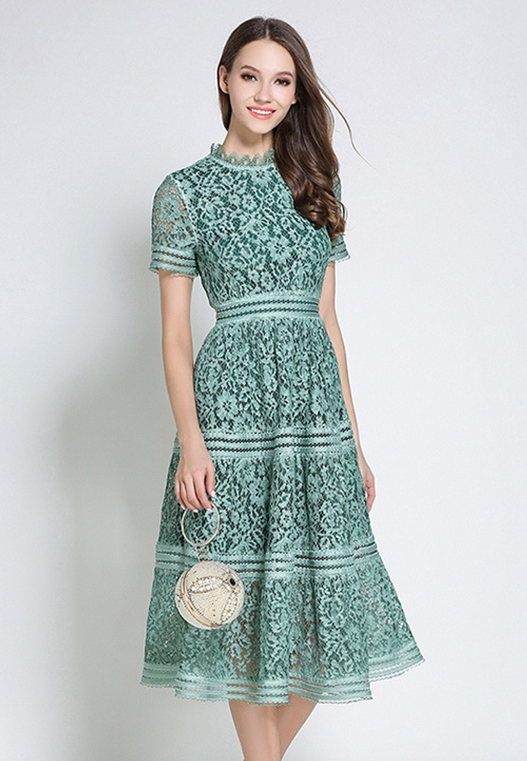 Green Lace Collar Piece Green One 2018 New Ruff Sunnydaysweety CA043043GR Dress 45AxUqR