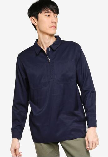 ZALORA BASICS navy Regular Fit Half Zip Utility Shirt F6D5DAA10A105AGS_1