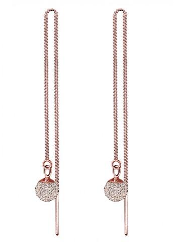 Elli Germany gold Perhiasan Wanita Perak Asli - Silver Anting Chain Swarovski® Crystal Lapis Rosegold 0ACCBAC7E54FADGS_1