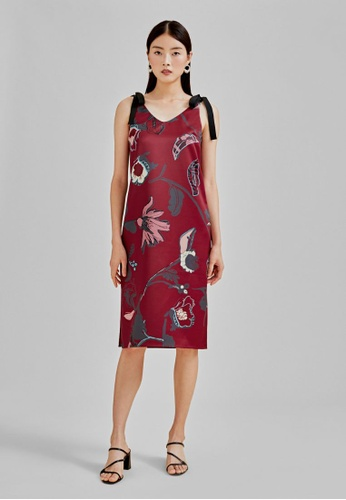 Love, Bonito red Tara Ribbon Tie Midi Dress in Flora Reverie F66EFAA2146201GS_1