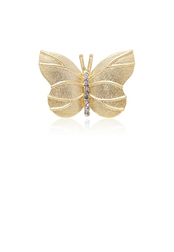 Glamorousky white Fashion and Elegant Plated Gold Butterfly Brooch with Cubic Zirconia 971D3AC82A617BGS_1