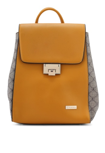 PLAYBOY BUNNY yellow Structured Backpack C1AE7AC6B350C0GS_1