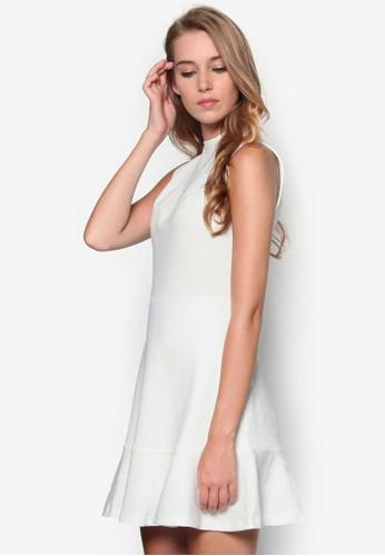 esprit outlet 台灣暗紋高領傘擺洋裝, 服飾, 正式洋裝