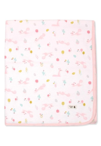 Organic mom pink Squirrel Garden Swaddling Blanket (FALL/WINTER) 81CA6KC836642FGS_1