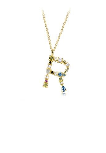 Glamorousky silver 925 Sterling Silver Plated Gold Fashion Simple Color English Alphabet R Pendant with Cubic Zirconia and Necklace 33BB2AC43EE1D1GS_1