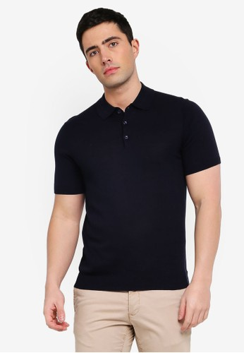 MANGO Man blue and navy Knit Cotton Polo Shirt E3B0AAA16A06BCGS_1