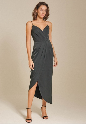 Dressing Paula green Draped Satin Midi Dress EEE6FAA877F750GS_1