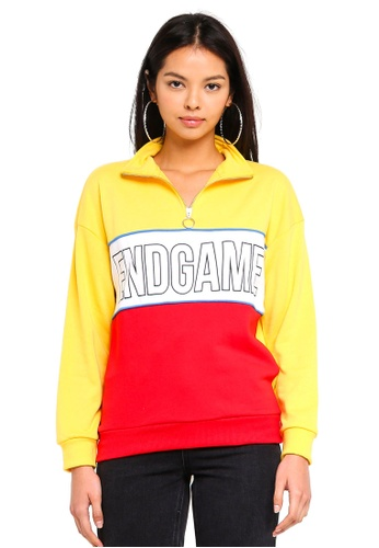 Factorie yellow Funnel Neck Zip Jumper 08409AA75395C4GS_1