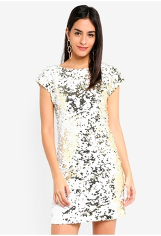 1d51d71b9d4 Dorothy Perkins white White Gold Sequin Shift Dress DF7A3AA8EADA1EGS 1