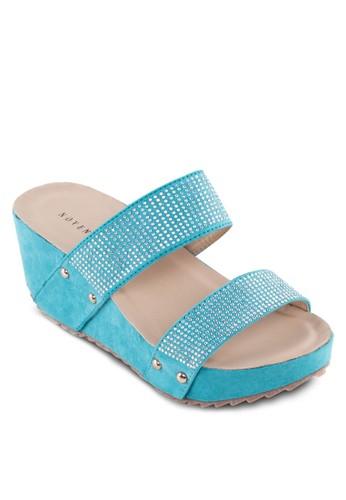 閃飾雙寬帶楔型涼鞋, esprit outlet 高雄女鞋, 楔形涼鞋