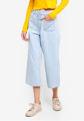 Cotton On blue Mid Rise Wide Leg Crop Jeans A5DBCAAEA9BFC9GS_1