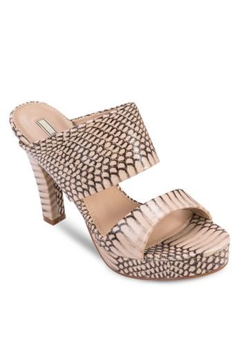 仿蛇紋寬帶厚底高跟鞋, 女鞋, 高zalora 衣服評價跟