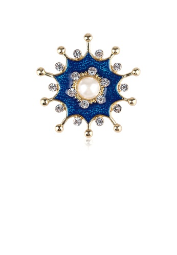 Glamorousky white Fashion and Elegant Plated Gold Enamel Blue Geometric Pattern Brooch with Cubic Zirconia A4CB3AC1D7E1D7GS_1