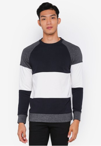 Jack & Jones white and navy Frank Crew Neck Sweater E2BBEAA30D9A41GS_1
