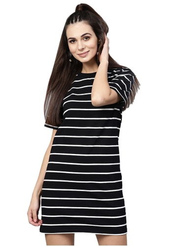 SASSAFRAS black Black White Stripe Shift Dress 8380DAAFFAD1C9GS_1