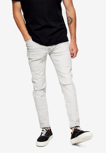 Topman grey Grey Knee Ripped Skinny Jeans 7A54BAAE8EF7B7GS_1