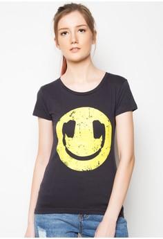 Ladies Smiley Headphones T-Shirt