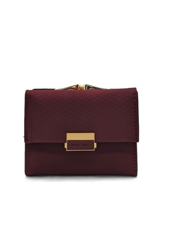 Polo Hill red and purple POLO HILL Ladies Tri-Fold with Kiss Lock Coin Pouch Purse CA610ACD3F5D70GS_1