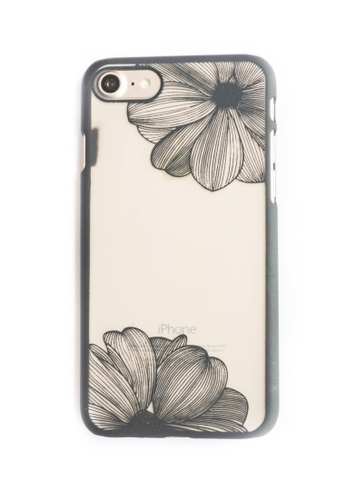 Fancy Cellphone Cases black Side Flowers Hard Transparent Case for iPhone 7 FA644AC24PWTPH_1