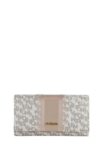SEMBONIA grey Checkered Coated Canvas Trim Leather Accordion Wallet (Grey) SE598AC0RVUWMY_1