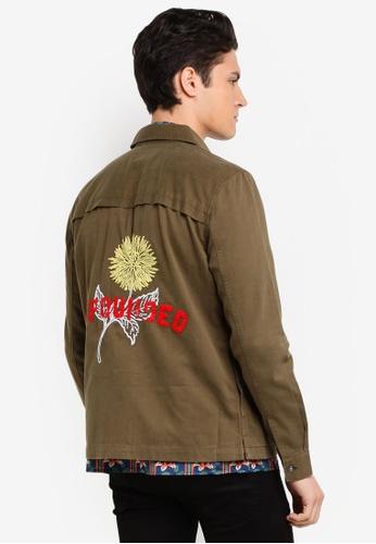 Topman green Khaki Embroidered Overshirt 703E8AAFE557ABGS_1